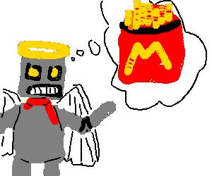 Angelic stylish robot thinks about McDonalds.