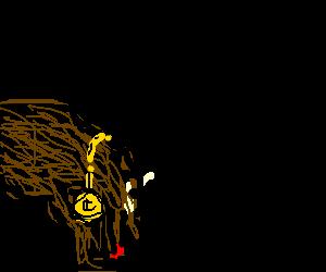 big brown dog licks feet. wears gold collar