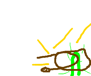 an electric snake wraps around a happy cactus