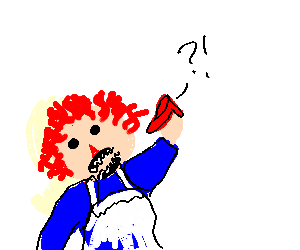 Raggedy Ann devours tiny, surprised ruby slipper
