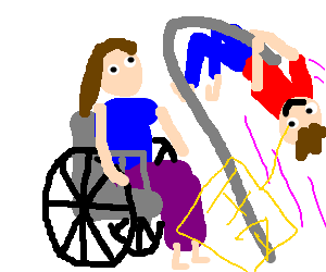 laughing man vaults over crippled woman