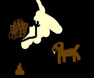 Hi I'm dog! I'm currently taking a shit.