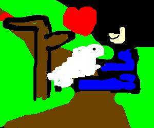 sitting man loves sheep at crossroads