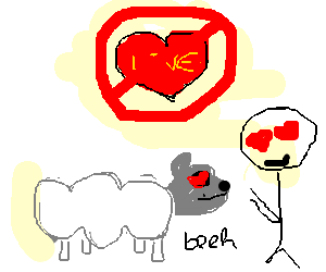 The forbidden love of a man and a sheep.