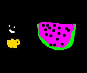 Canadian Batman eats watermelon
