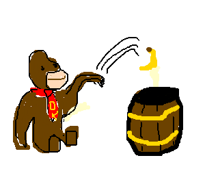 donkey kong tossing gorilla food into a barrell