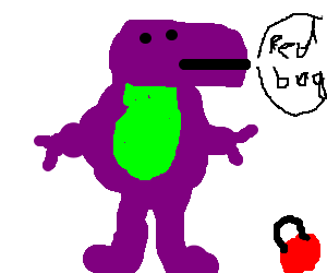 Barney gestures to a red bag