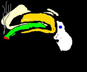Toucan smoking a green doobie