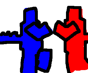 two wrestling robots