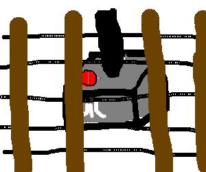Atari Controller hides behind a fence