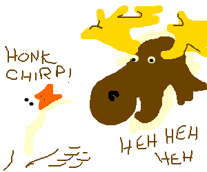 mouse laughs at chirping goose