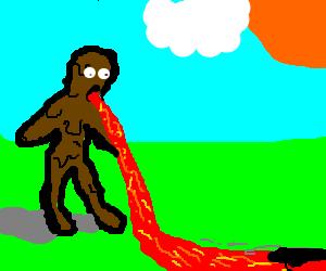 man made of mud throwing up magma