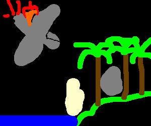 Airplane crashing into the Lost island.
