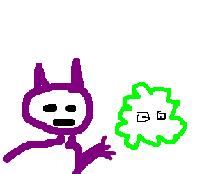 Fat purple cat prods big green amobea with eyes.