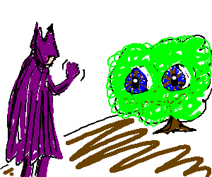 Purple batman waves at bush with eyes.