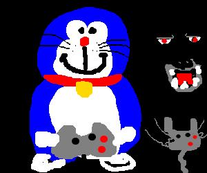 Doraemon playing with Godzilla