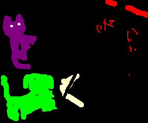 Purple cat and green dog playing mortal kombat