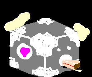 The companion cube eats the cake.
