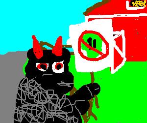 Black devil sheep protests little green aliens