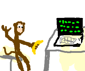 A monkey reading Matrix code on a PC
