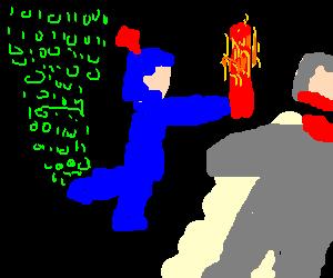 Hacker knight with fire sword kills a man