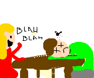 Woman sits at table, talks to a dead man