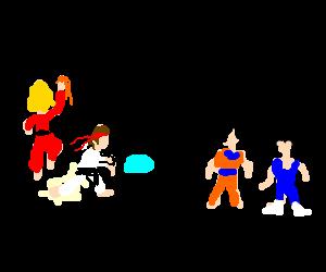 ryu and ken vs goku and vegeta