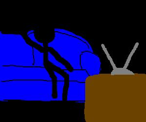 A stickman watching TV