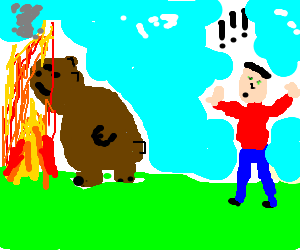 Bear pokes head into frame. Man annoyed