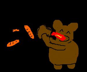 a french man yelling at bear eating lava