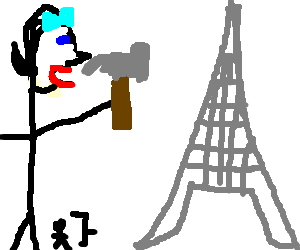 Giant transparent girl hammers Eiffel Tower