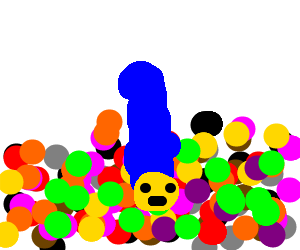 Marge Simpson in a ball pit