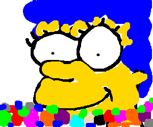 Marge simpson submerged in colorful dots
