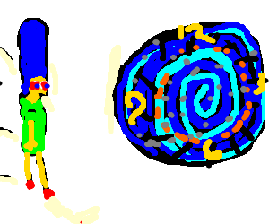 Stoned Marge enters the time vortex