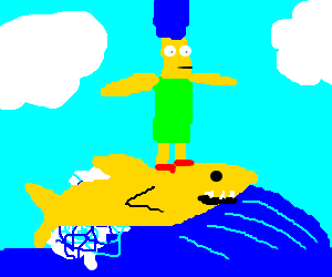Marge Simpson surfing on a yellow shark