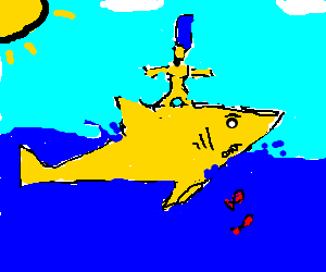 Marge Simpson riding a giant yellow shark