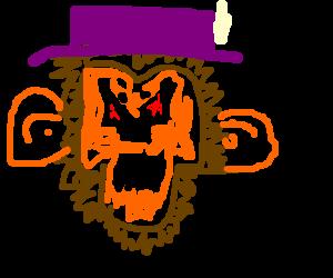 Evil chimp with purple hat