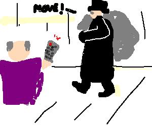 Body Snatcher makes it move on guy w. tv-remote.