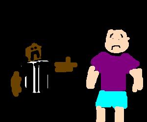 A black man yelling at a purple shirt
