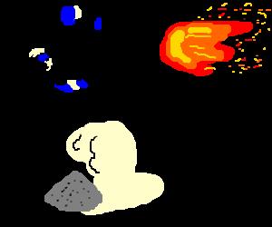 Man from BlueManGroup fails at stopping fireball