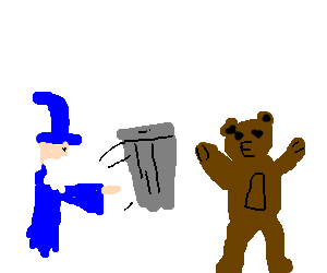 Wizard throwing garbage at a bear
