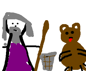 A wizard attacking pedobear with a trashcan