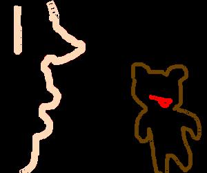 a man sniffs pedobear