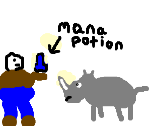 Fat man giving a Mana potion to rhino