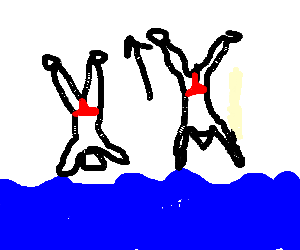 upside down people jumping out of the ocean