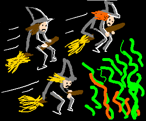 Three witches flying their brooms into puke smel