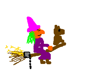 Witch and dog ride on a rocket broom