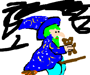 wizard with green hair and a bear fly on broom