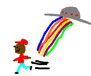 Smiling man running away from Rainbow UFO beams