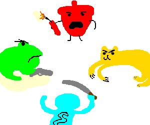 Red Acorn Yellow Cat Blue Monkey Greenfrog fight